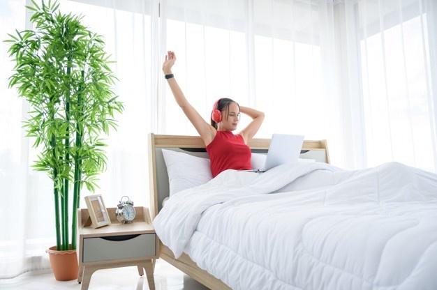 Dame på hjemmekontor i sengen